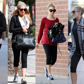 Celebrities Workout Style. Balck Shades And StylishBags