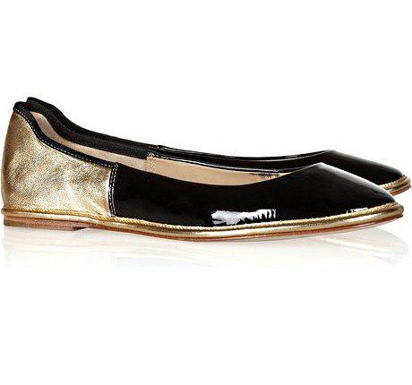 Diane Von Furstenberg Metallic & Patent Leather Color Block Ballet Flats