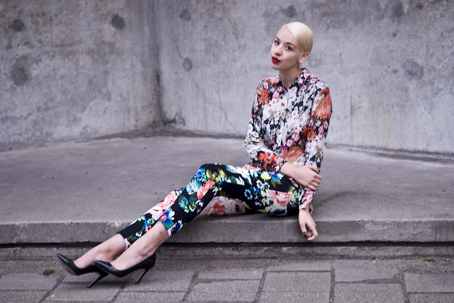 Ilanka in Fashion Editorial Wearing Cropped Floral Print Trousers from H&M