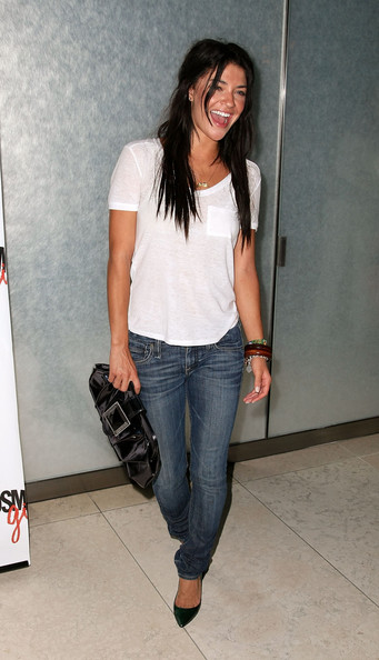 Jessica Szohr - Patent Leather Clutch & White T Shirt & Jeans