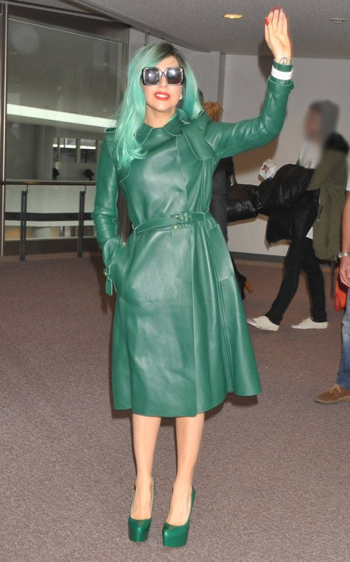 Lady Gaga in Green Leather Trench Coat
