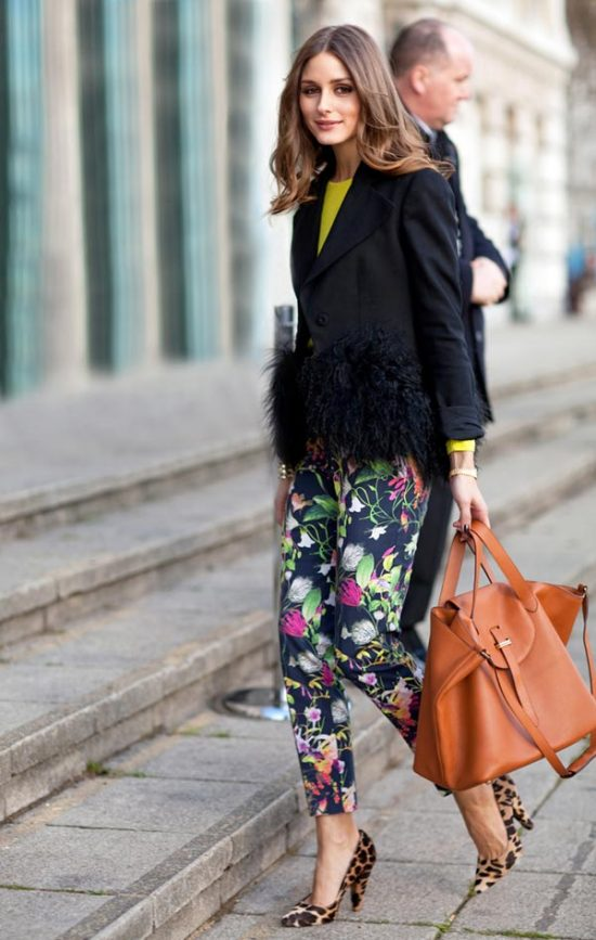 Olivia Palermo in Floral Print Trousers - 2012 Spring Trend