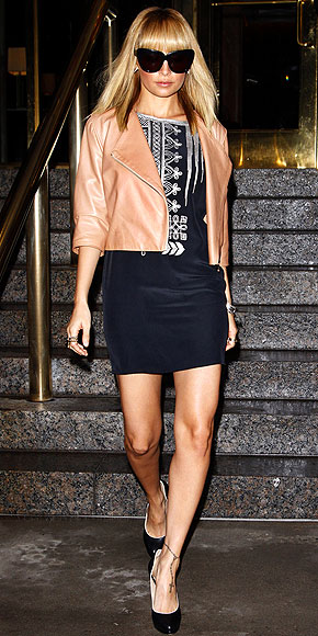 Nicole Richie - LBD & Black Shades & Short Leather Jacket