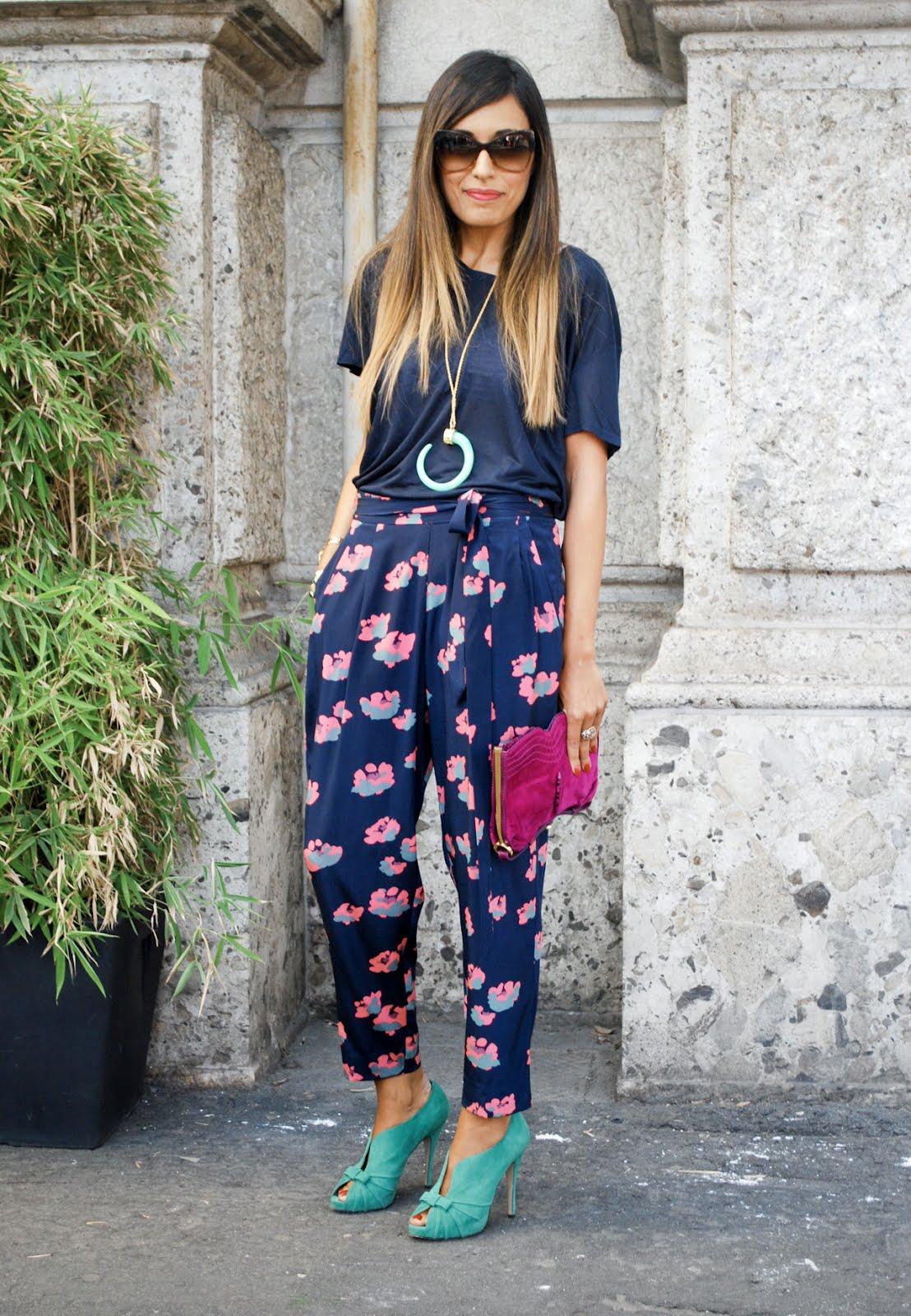 London-Milan 2012 Street Trend - Floral Print Trousers