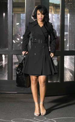 Rihanna in Black Trench Coat