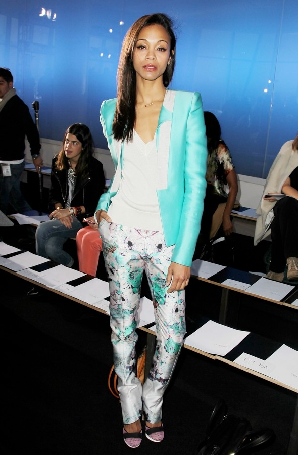 Zoe Saldana in Floral Print Trousers - 2012 Spring Trend