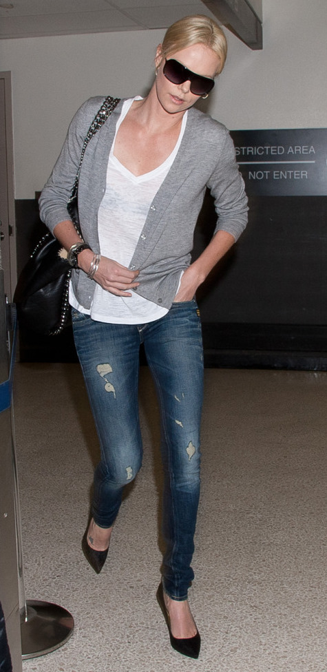 Charlize Theron in White T-Shirt