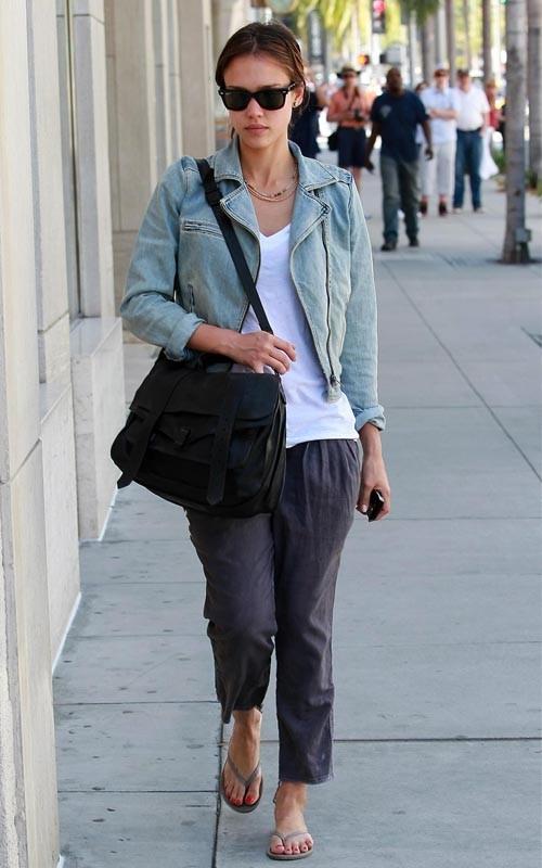 Jessica Alba '90s Inspired Fashion denim jacket