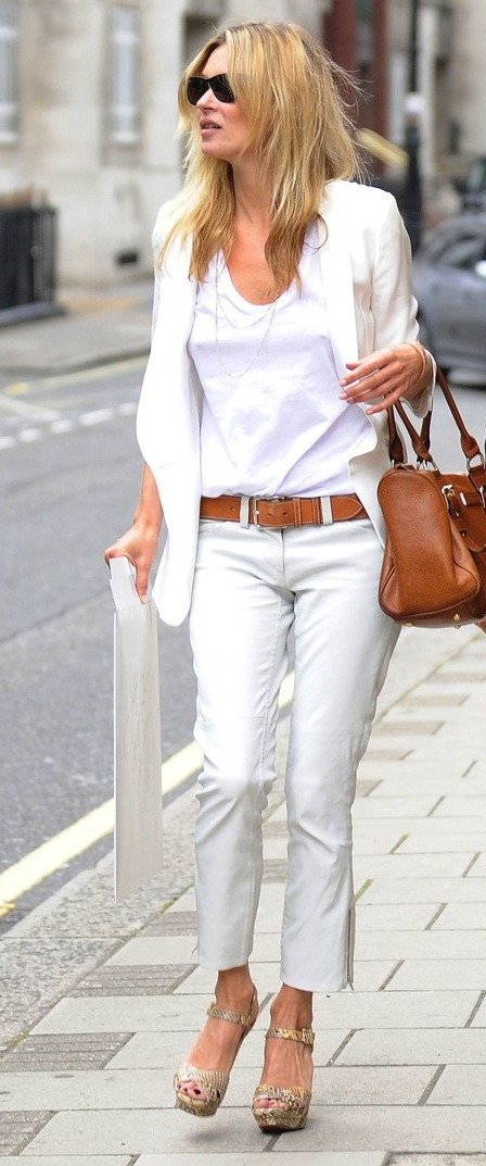 Kate Moss in White T-Shirt
