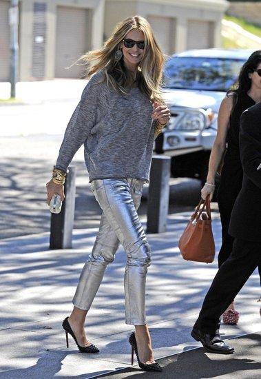 Heidi Klum wearing statement trousers