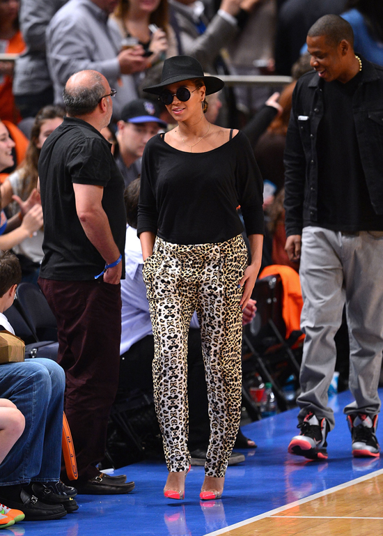 Beyonce wearing statement trousers