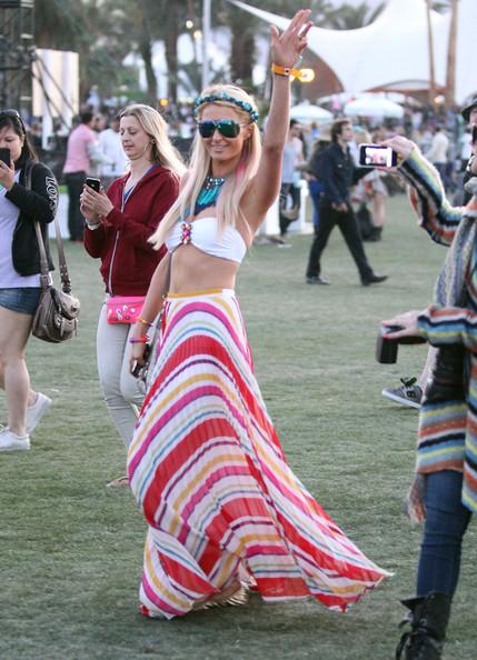 Paris Hilton at Coachella 2012 in Bare Midriff