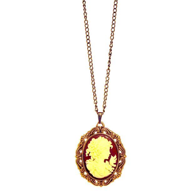Grecian Lady Cameo Vintage Necklace