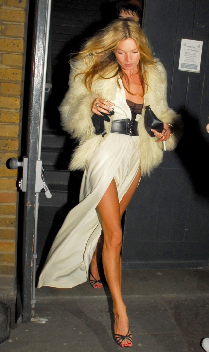 Kate Moss Style Icon - fur & white gown