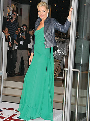 Kate Moss Style Icon  - green maxi dress & leather jacket