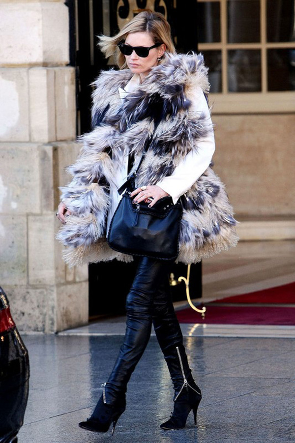Kate Moss Style Icon - leather trousers & fur vest
