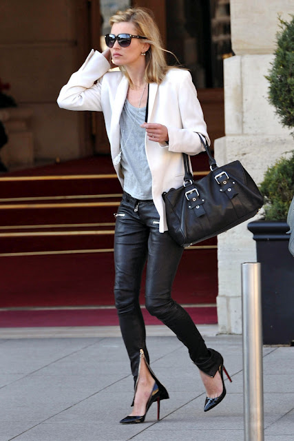 Kate Moss Style Icon - leather trousers & white blazer