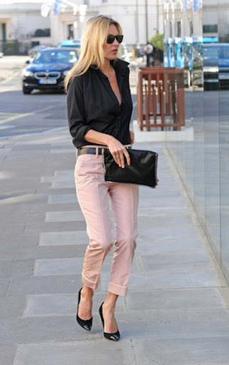 kate-mKate Moss Style Icon - pink trousers