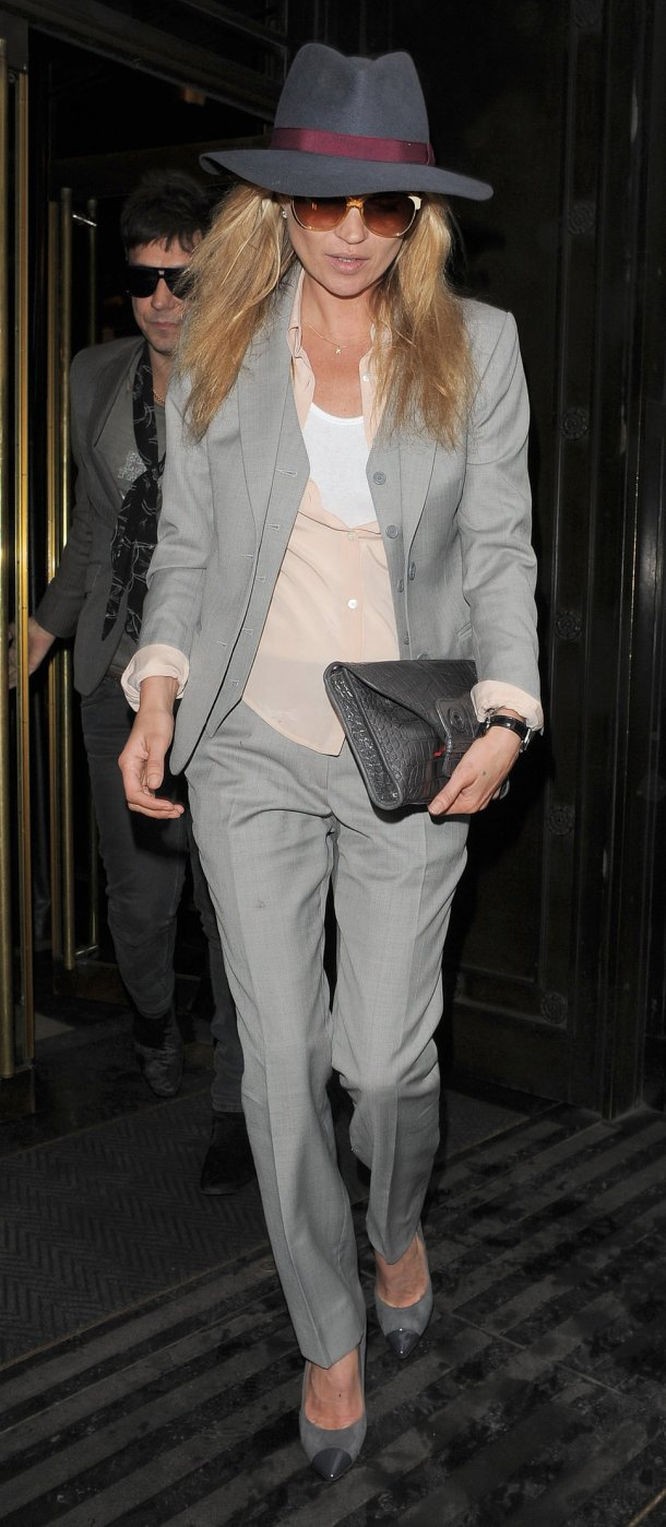 Kate Moss Style Icon - grey suit & hat