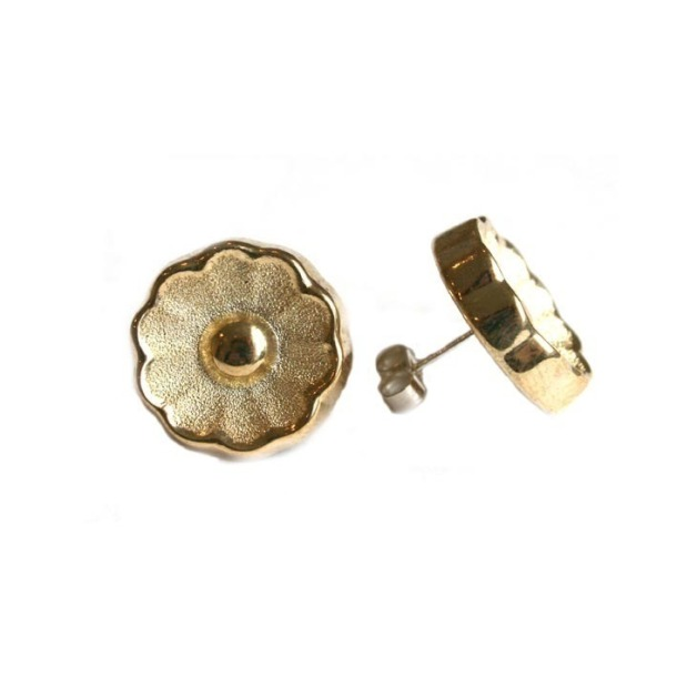 Gold Vintage Flower Earring Studs