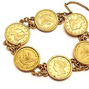 Vintage Estate US Coin Charm Bracelet