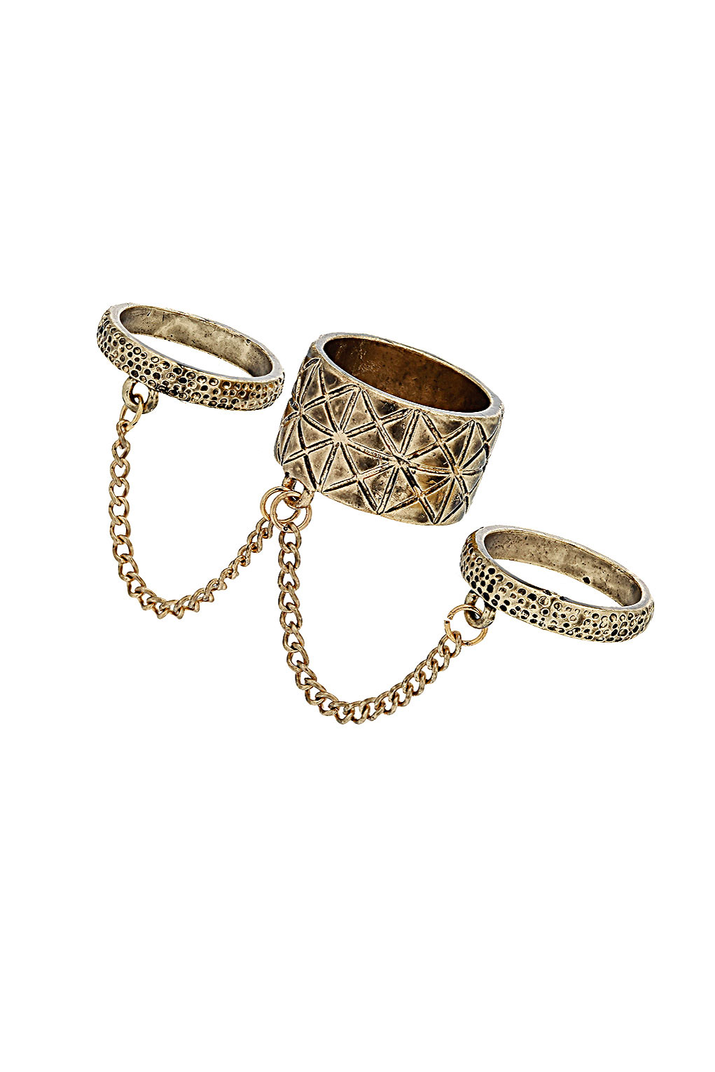 Topshop - 3 Band Link Chain Rings - £8.50
