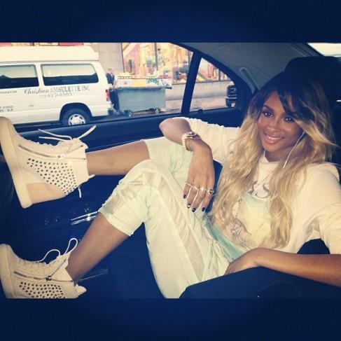 Ciara in Giuseppe Zanotti Wedge Heel Sneaker