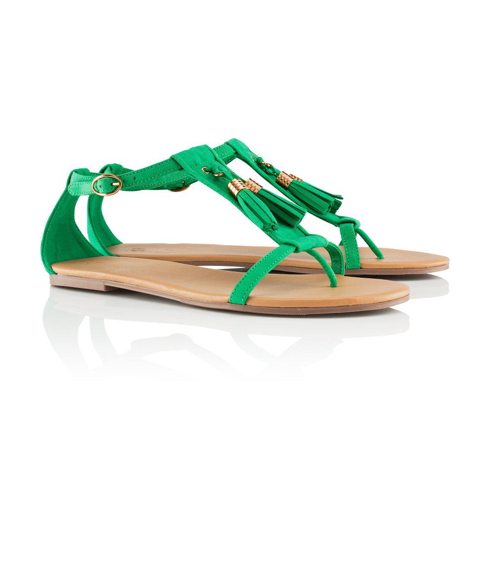 H&M green sandals £14.99; image courtesy of H&M UK