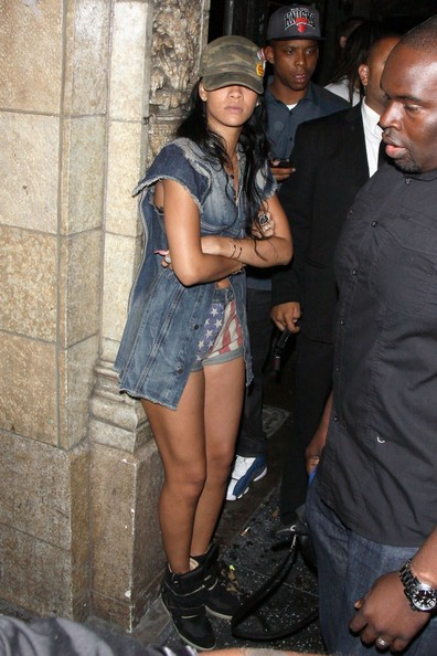 Rihanna in Isabel Marant high top suede sneakers