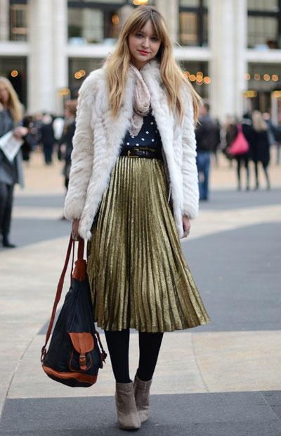 2012 Pleated Skirt - New York Street Style