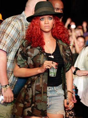 Rihanna in army jacket at Coachella Festival 2011