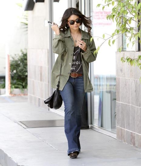 Vanessa Hudgens in army jacket