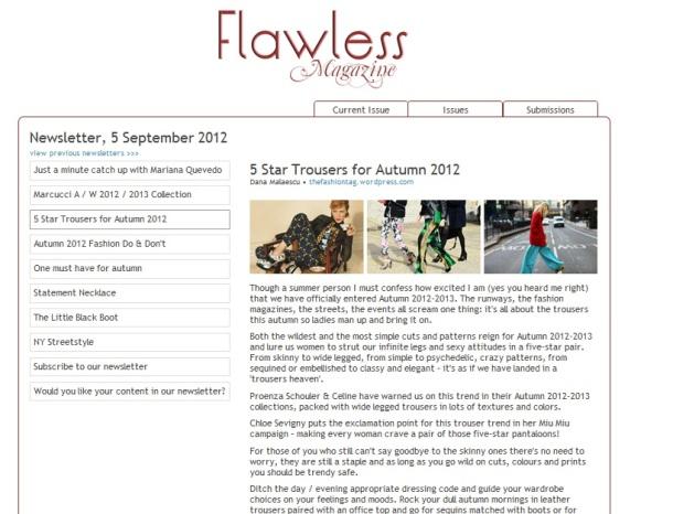 5 Star Trousers for 2012 Fall - fashion article by Dana Cristina Malaescu, from FashionTag, fashion editor at Flawless-Magazine