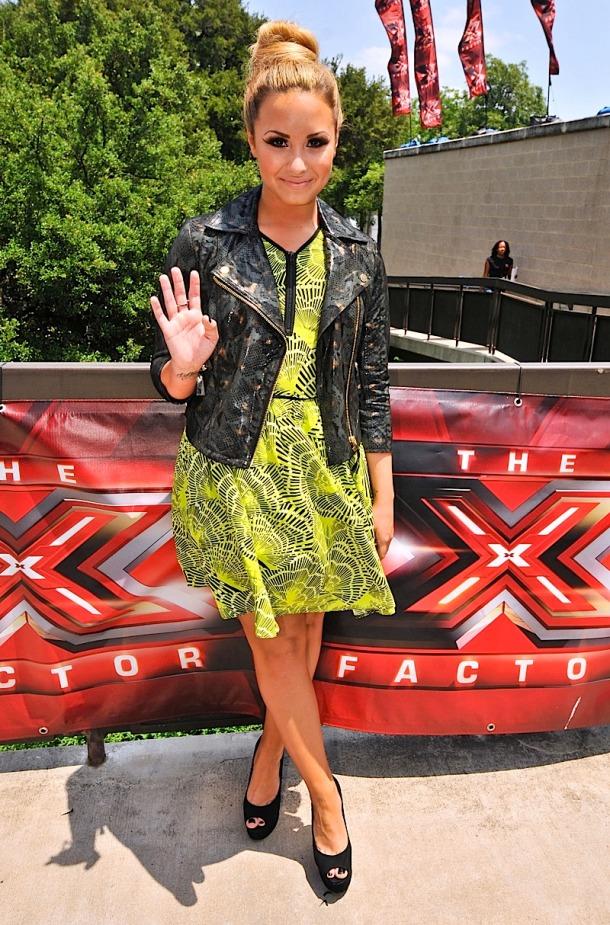 Demi Lovato in black leather jacket