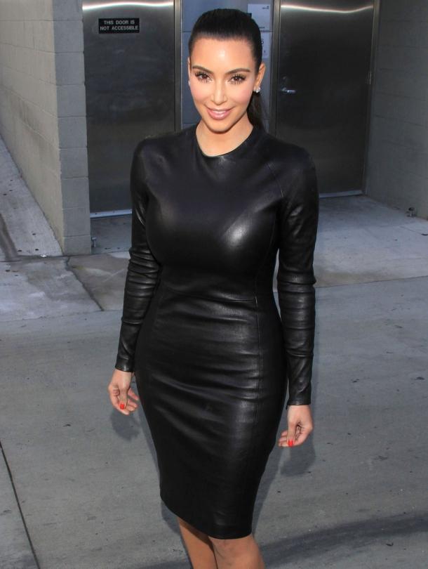 Kim Kardashian in black leather dress