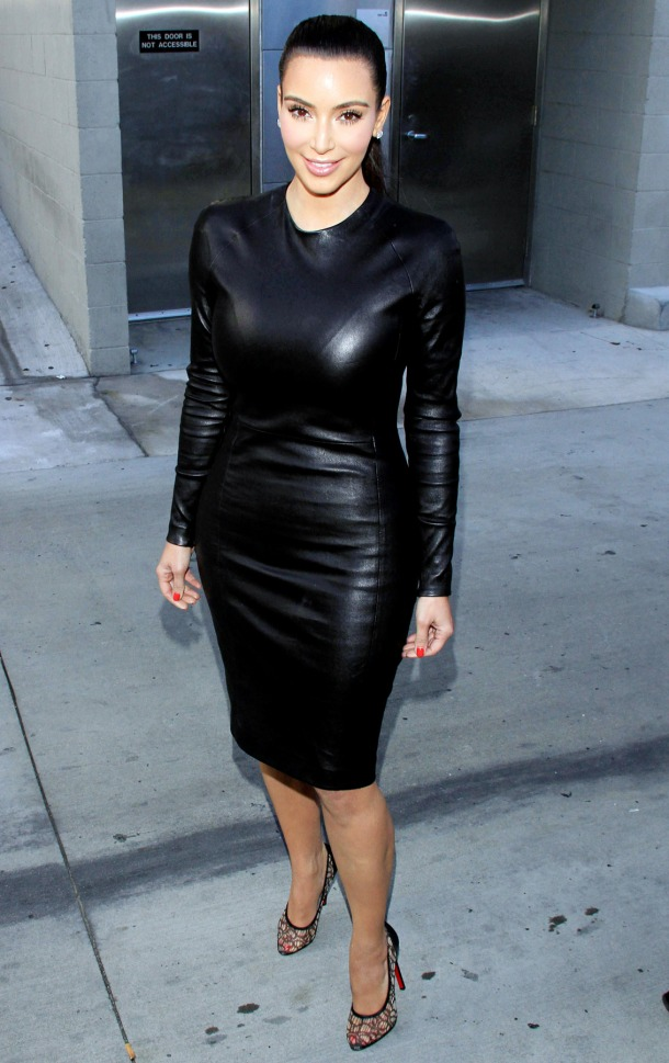 Kim Kardashian Black Leather Dress