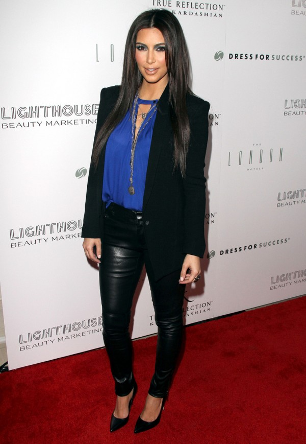 Kim Kardashian Style - Black Leather Trousers, Black Blazer & Blue Blouse
