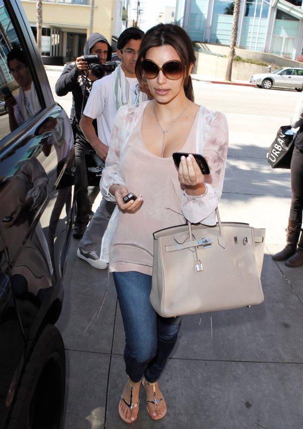 Kim Kardashian Style - Nude Hermes Bag