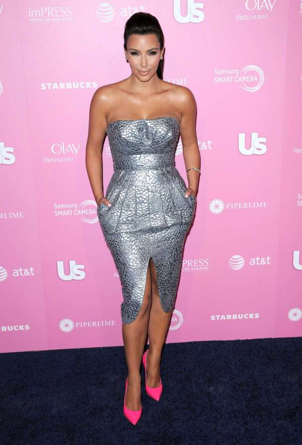 Kim Kardashian Style- Metallic Dress & Pink Shoes