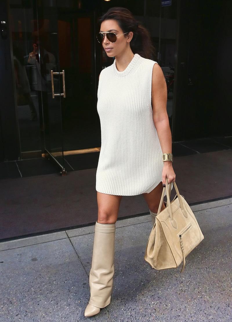 Kim Kardashian Style - White Dress & White Boots