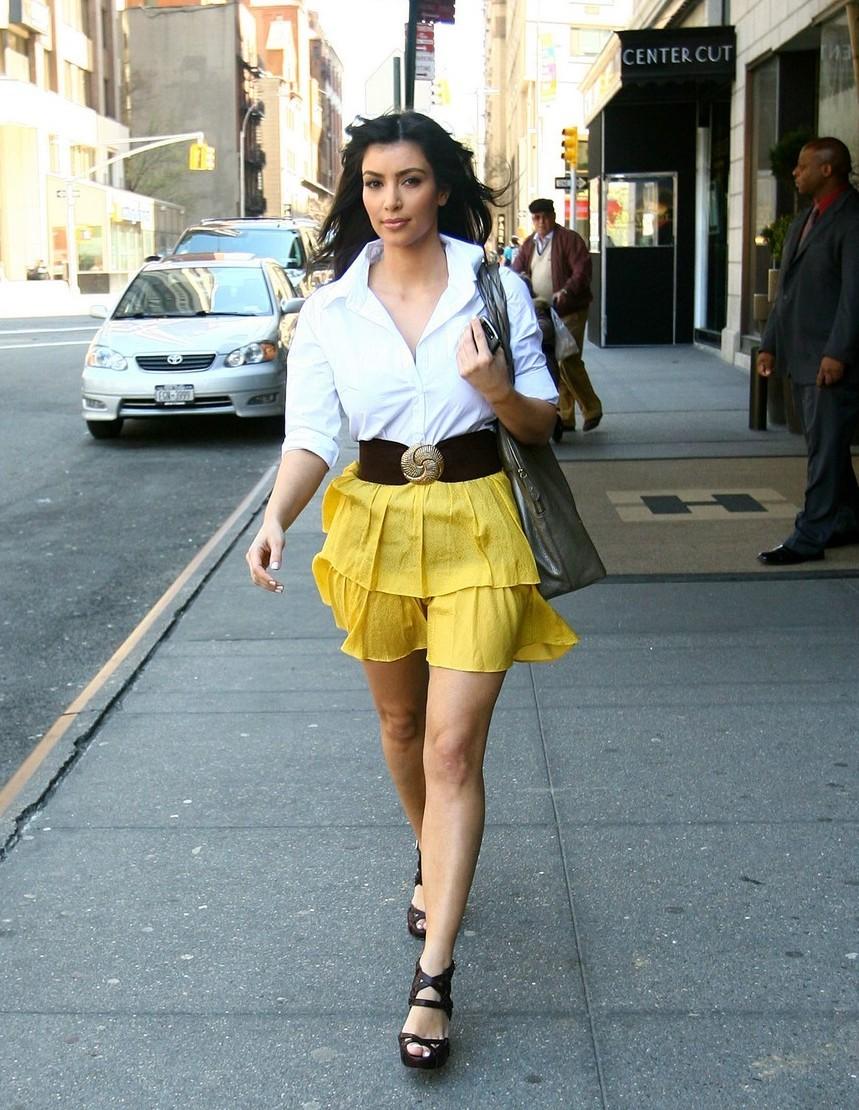 Kim Kardashian Style - Yellow Skirt