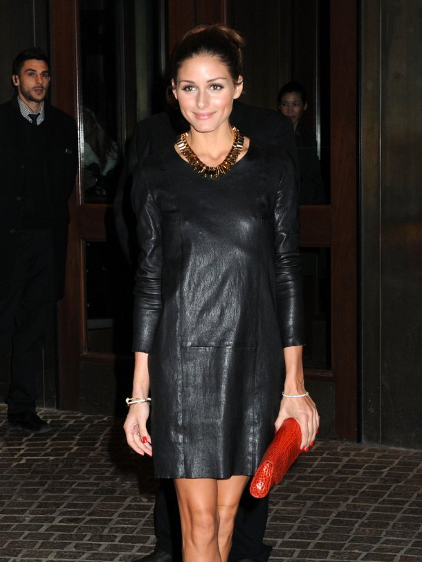 Olivia Palermo in black leather dress
