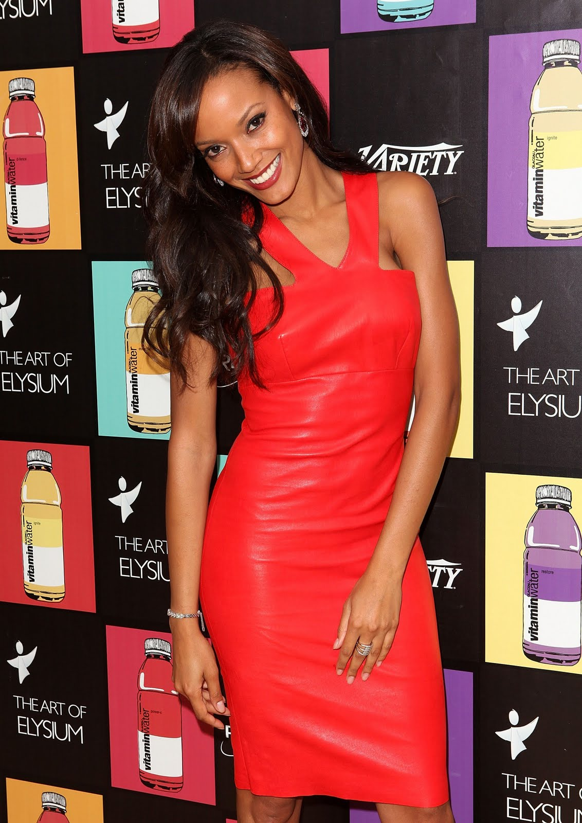 Selita Ebanks in red leather dress