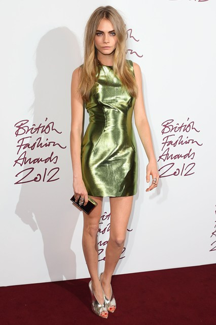 Cara Delevigne - Model of The year - British Fashion Awards 2012 in Burberry Dress
