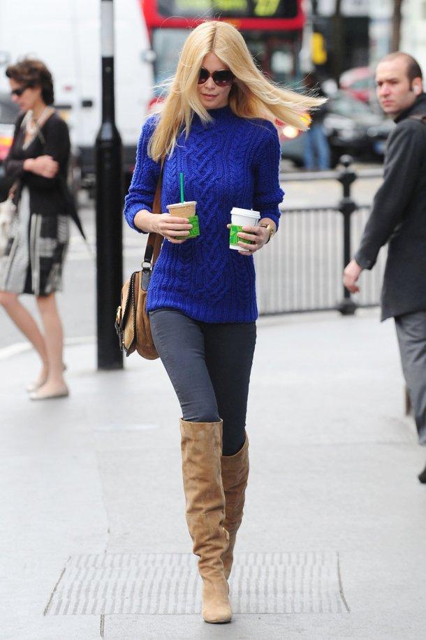 Claudia Schiffer - Blue Sweater