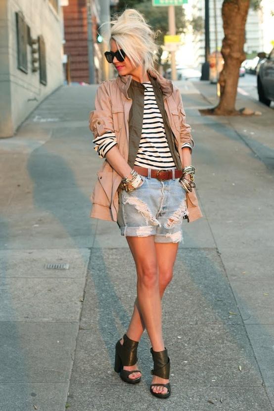 cut offs style1 Trend Alert    Denim Cutoff Shorts With Tights!