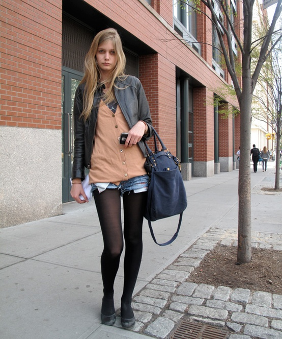 Denim Cutoff Shorts with Tights Trend Alert