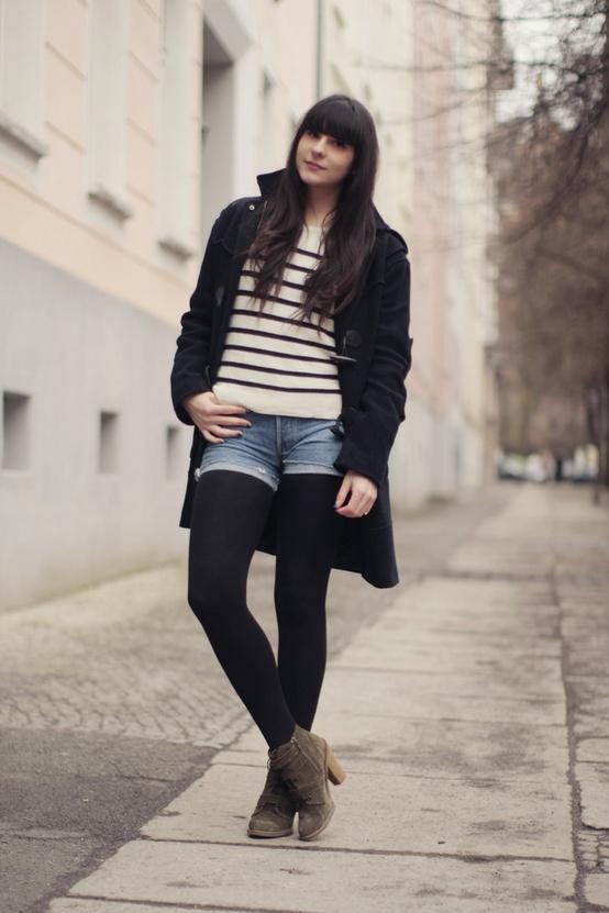cutoffs street style Trend Alert    Denim Cutoff Shorts With Tights!