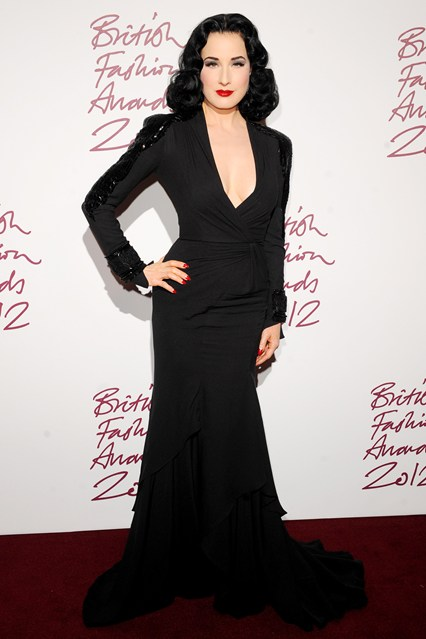 Dita Von Teese - British Fashion Awards 2012; in Jenny Peckham