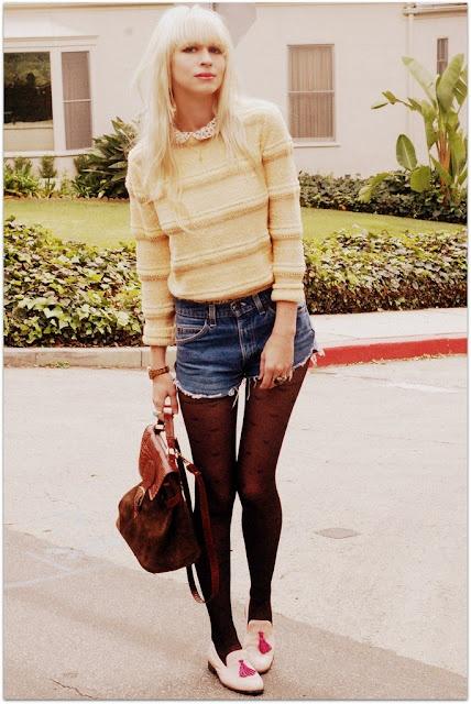 fashion trend cut offs black tights Trend Alert    Denim Cutoff Shorts With Tights!